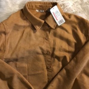 Tops - Brand new washable suede look shirt blouse